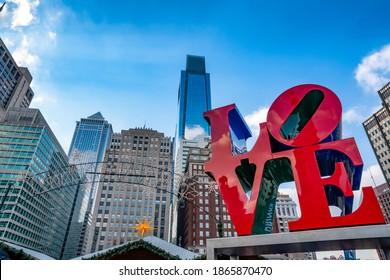 Philadelphia, Pennsylvania, USA - December 18, 2018: Love Park in Philadelphia, Pennsylvania, USA during Christmas time