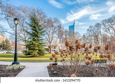 Philadelphia, Pennsylvania, USA - December, 2018 - Beautiful view of Philadelphia downtown skyline, near Rodin Museum.