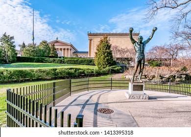 Philadelphia, Pennsylvania, USA - December, 2018 - Rocky Statue - Rocky and Creed Tour of Philadelphia