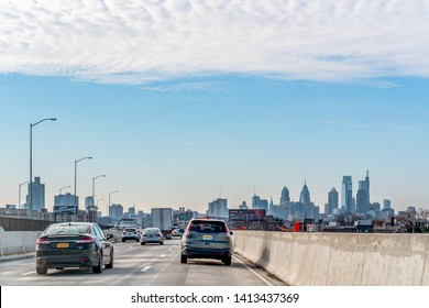 Philadelphia, Pennsylvania, USA - December, 2018 - Arriving in Philly by car from New York with the Classic view of the Skyline and the top os the buildings