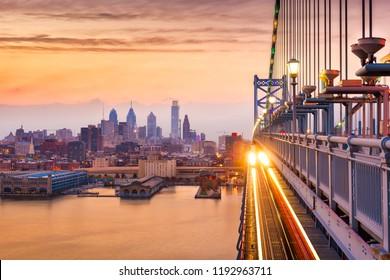 Philadelphia, Pennsylvania, USA downtown skyline from the Benjamin Franklin Bridge.