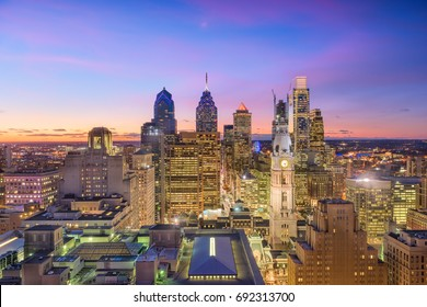 Philadelphia, Pennsylvania, USA downtown skyline at twilight.