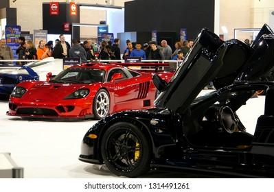 Philadelphia, Pennsylvania, U.S.A - February 9, 2019 - Red Saleen S7 and black Pagani Huayra supercars