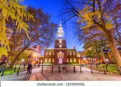 Philadelphia, Pennsylvania, USA at Independence Hall during autumn season.