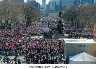 Philadelphia, Pennsylvania, USA - January 20, 2018: Thousands in Philadelphia unite in solidarity with the Women's March.
