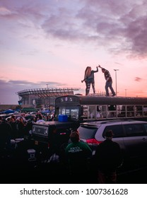 Philadelphia, Pennsylvania / USA - January 21, 2018: Eagles Fans Celebrate NFC Championship Win