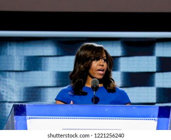 Philadelphia, Pennsylvania, USA, July 25, 2016First Lady Michelle Obama delivers her speech to the Democratic National Nominating Convention from the podium in the Wells Fargo Arena