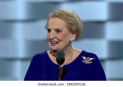 Philadelphia, Pennsylvania, USA, July 26, 2016Former U.S Secretary of State Madeleine Albright delivers her address at the podium of the Democratic National Nominating Convention