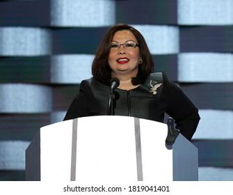 Philadelphia, Pennsylvania, USA, July 28, 2016Senator Tammy Duckworth (D-IL) addresses the Democratic National Nominating Convention in the Wells Fargo Arena
