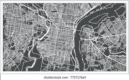 Philadelphia Pennsylvania USA Map in Retro Style. Outline Map.
