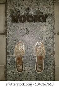 Philadelphia, Pennsylvania, U.S.A - March 24, 2019 - The famous Rocky Balboa steps near Museum of Art