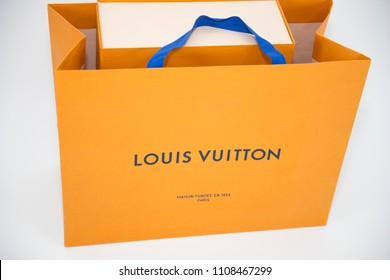 Philadelphia, Pennsylvania, USA - MAY 24, 2018: A Louis Vuitton box. Louis Vuitton is a designer fashion brand known for its leather goods.