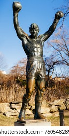 PHILADELPHIA, PENNSYLVANIA, USA - October 12, 2017: Rocky Balboa Statue in front of the Philadelphia Museum of Arts. Originally created for Rocky III.