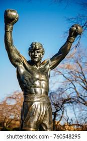PHILADELPHIA, PENNSYLVANIA, USA - October 12, 2017: Rocky Balboa Statue in front of the Philadelphia Museum of Arts. Originally created for Rocky III.