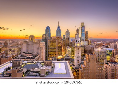 Philadelphia, Pennsylvania, USA skyline over the Center City business district at dusk.