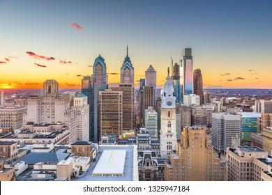 Philadelphia, Pennsylvania, USA skyline over Center City at sunset.