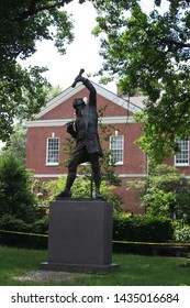 Philadelphia, Pennsylvania,United States - June 24, 2019: The Signer Statue, inspired by George Clymer, signer of the Declaration of Independence and The Constitution; designed by EvAngelos Frudakis