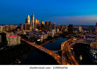 Philadelphia, Pennsylvania/USA - 10/5/2018: Looking south from the Schuylkill River, viewing I-676 and I-76 with the skyline in the background