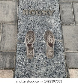 Philadelphia, Pennsylvania/USA; August 20th 2019: Rocky footprints at Rocky Steps, Museum of Art, Philadelphia.