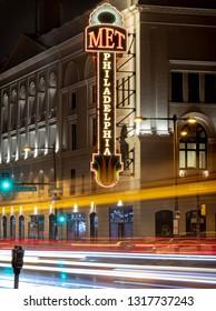PHILADELPHIA, PENNSYLVANIA/USA - CIRCA FEBRUARY 2019: Long exposure photo of The Met Philadelphia.