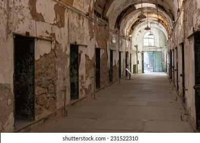 PHILADELPHIA, PENNSYLVANIA/USA, NOV 15: Cellblock 10 as shown on November 15, 2014 at Eastern State Penitentiary Historic Site