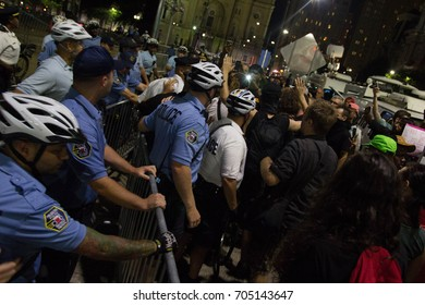 Philadelphia Police clash with protestors calling for the removal of a statue of controversial former Philadelphia mayor Frank Rizzo outside the city's municipal building, Thursday, August 16, 2017.