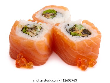 Philadelphia roll with caviar and mussels. Traditional Japanese food - sushi rolls on white background.