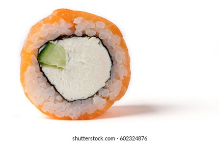 Philadelphia roll with a cucumber, some cream cheese and a salmon