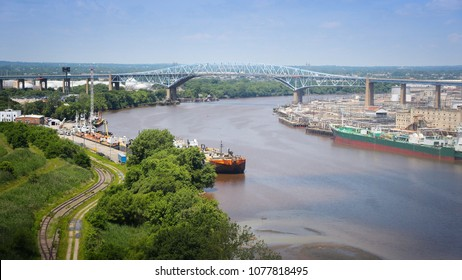 Philadelphia - Schuylkill River with Platt Bridge and industrial refinery