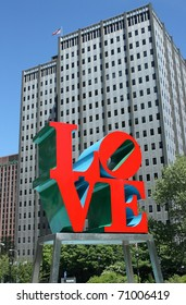 PHILADELPHIA - SEPT 30: The popular Love Park named after the Love statue September 30, 2010 in Philadelphia, Pennsylvania. The now famous Love sculpture, designed by Robert Indiana, was first placed in the plaza in 1976 as part of the United States' Bice