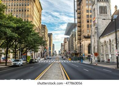 PHILADELPHIA - September 1, 2016: Cityscape with street and Downtown Skyline of Philadelphia, Pennsylvania, USA