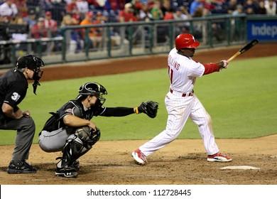 PHILADELPHIA - SEPTEMBER 10th :  Jimmy Rollins of the Philadelphia Phillies bats against the Miami Marlins on September 10th 2012 in Philadelphia