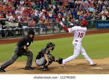 PHILADELPHIA - SEPTEMBER 10th :  John Mayberry of the Philadelphia Phillies bats against the Miami Marlins at Citizens Bank Park on September 10th 2012 in Philadelphia