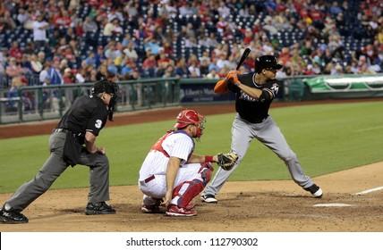 PHILADELPHIA - SEPTEMBER 10th :  Mike Stanton of the Miami Marlins bats against the Philadelphia Phillies  at Citizens Bank Park on September 10th 2012 in Philadelphia