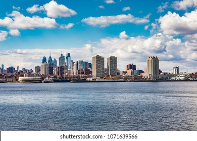 Philadelphia skyline from across the Delaware River in early spring
