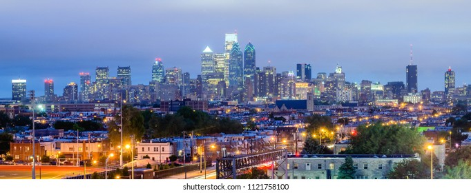 Philadelphia skyline at night as seen from the Stadium District, USA