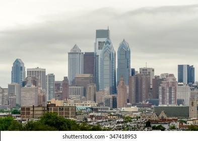Philadelphia Skyline on a foggy daylight