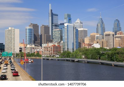 Philadelphia skyline with the Schuylkill River and highway on the foreground, USA