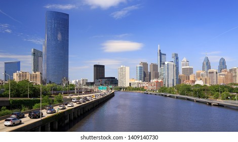 Philadelphia skyline with the Schuylkill River and highway on the foreground, USA. Panoramic view.