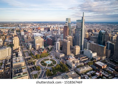 Philadelphia Skyline with Skyscrapers and Business District In Background. Philadelphia City Hall in Background. Pennsylvania