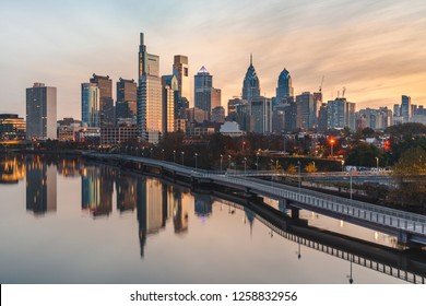 Philadelphia skyline at sunrise