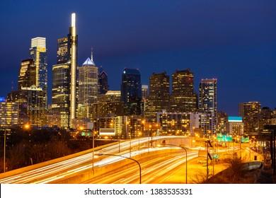 Philadelphia Skylines building sunset in Philly city PA USA