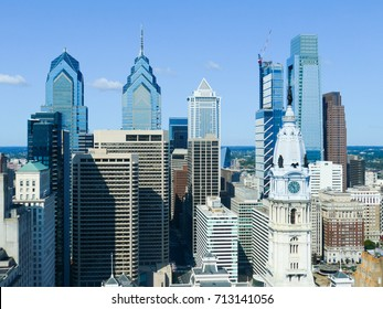 Philadelphia skyscrapers with a beautiful blue summer sky