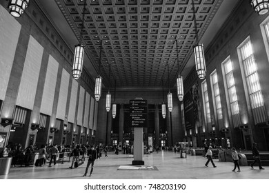 Philadelphia, USA - 2 November 2017. Interior of the 30th street station train station