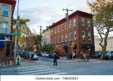 Philadelphia, USA - 2 November 2017. Suburban Street in Philadelphia Fairmount Suburb