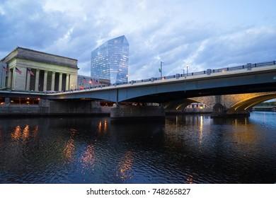 Philadelphia, USA - 2 November 2017. Bridges crossing the Schuylkill River