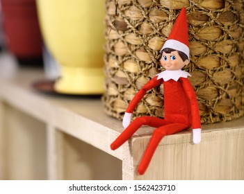 PHILADELPHIA, USA - 28 OCTOBER 2018:Funny Christmas toy the Elf on the Shelf. American christmas traditions. Xmas activities for family with kids.