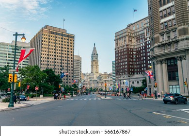 PHILADELPHIA, USA - AUGUST 1, 2016: City Hall of Philadelphia has been the world's tallest masonry building since the 1953 collapse of the pinnacle of the Mole Antonelliana in Turin.