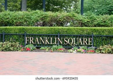 PHILADELPHIA, USA - AUGUST 12: Franklin Square in Center City Philadelphia on August 12, 2017
