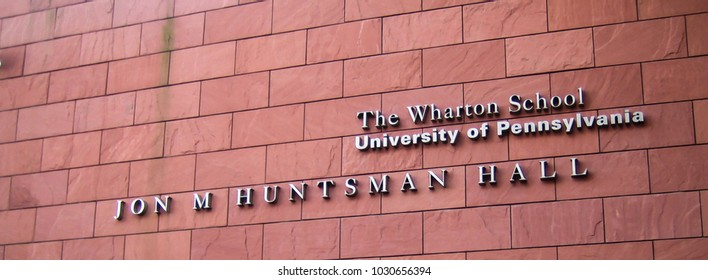 Philadelphia, USA - Dec 23 2005: The entrance at The Wharton School of University of Pennsylvania, which is a top notch business school in the world.